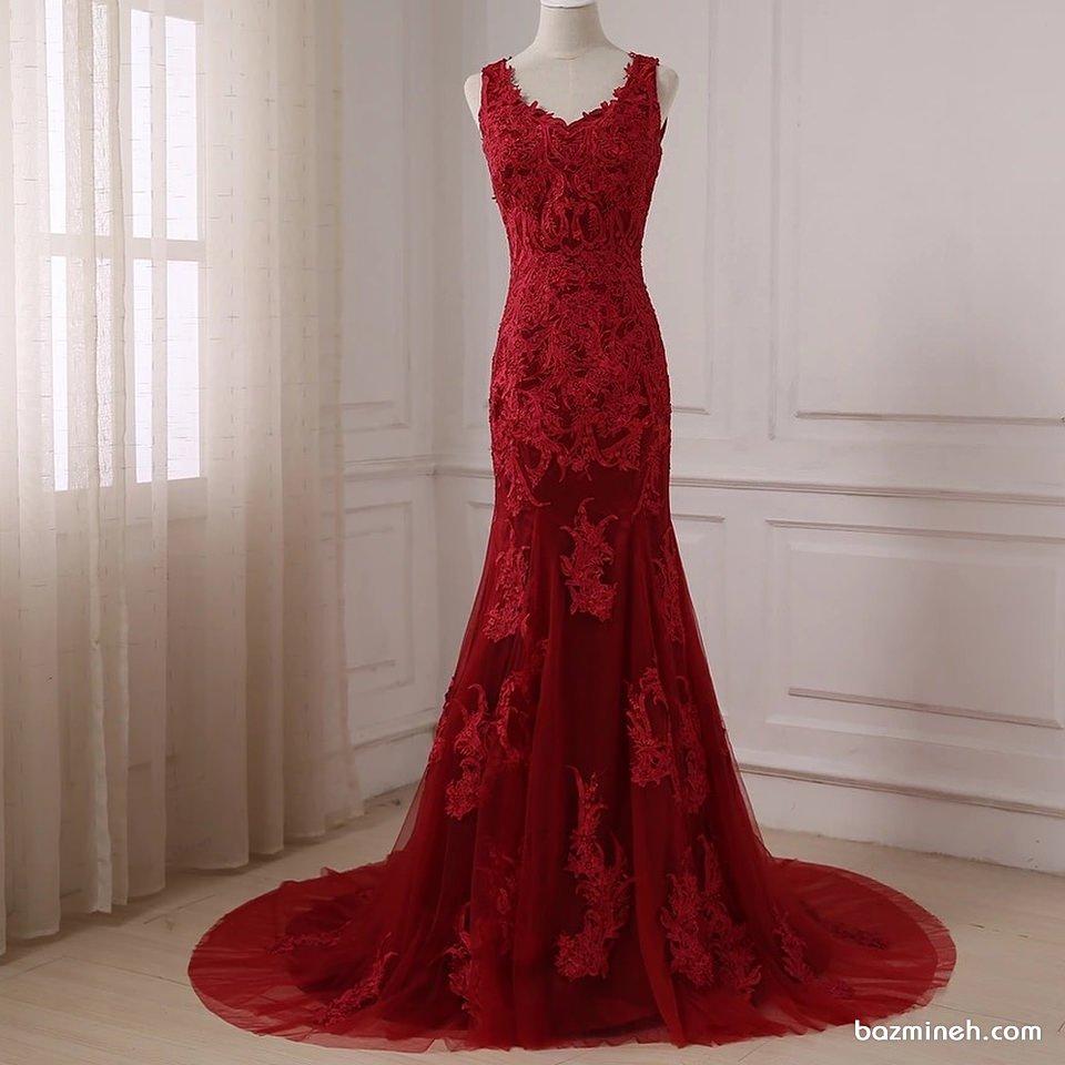 لباس مجلسی قرمز بلند با دامن مدل ماهی دنباله دار مناسب برای عروس خانم ها در جشن هایی چون حنابندان و نامزدی