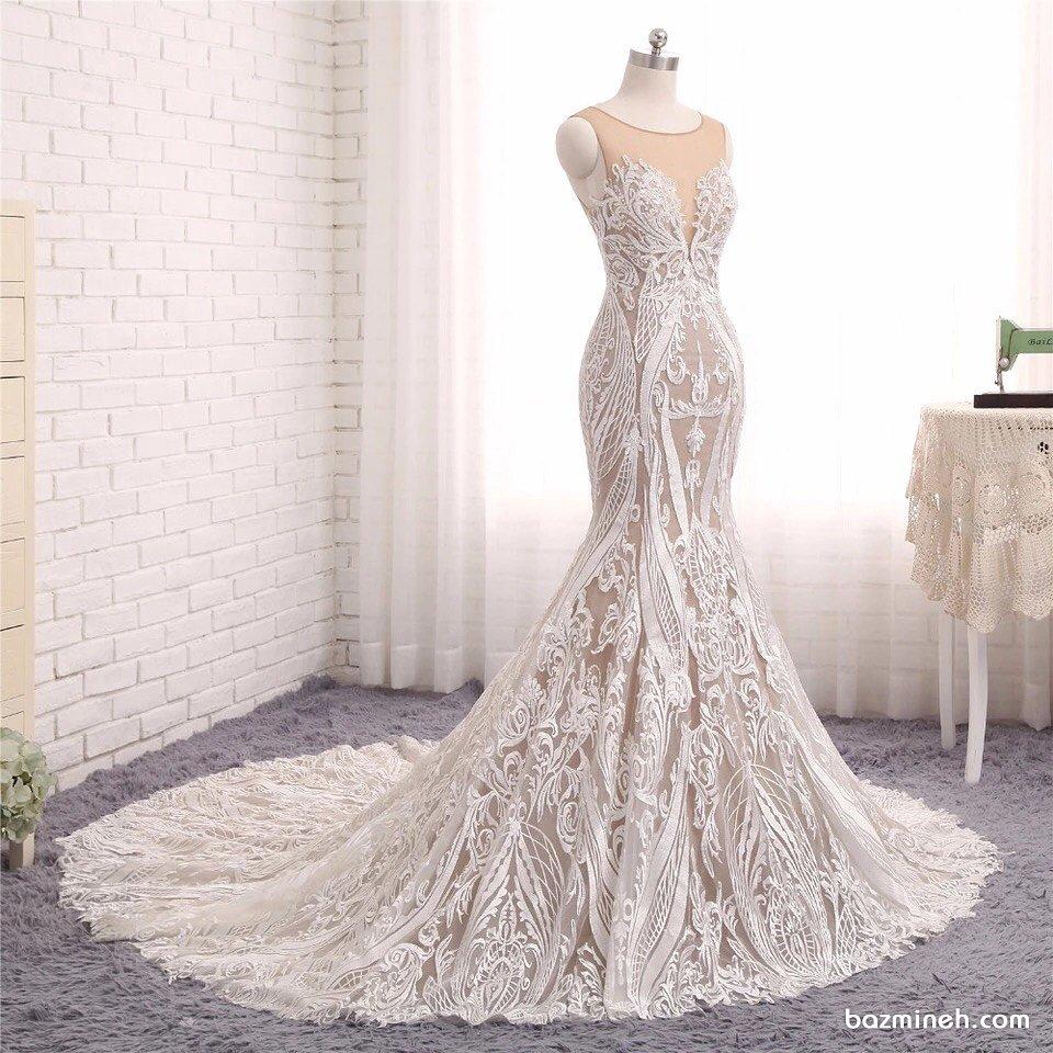 لباس مجلسی بلند با پارچه دانتل و دامن مدل ماهی دنباله دار مناسب برای عروس خانم ها در مراسم نامزدی