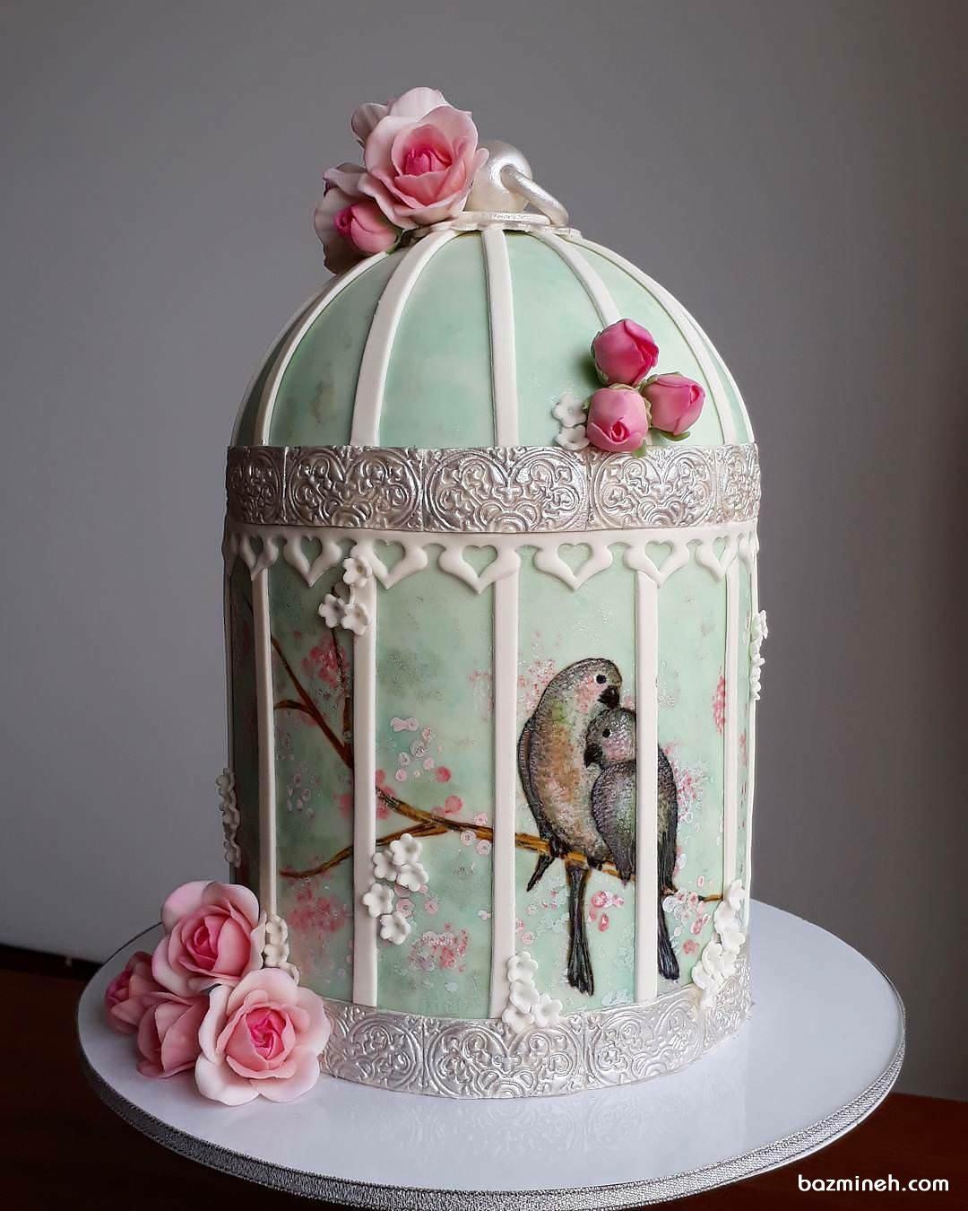 کیک منحصر به فرد جشن سالگرد ازدواج با طرح قفس