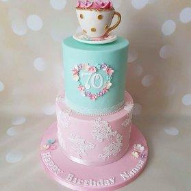 کیک دو طبقه زیبای جشن تولد بزرگسال با تم آبی صورتی