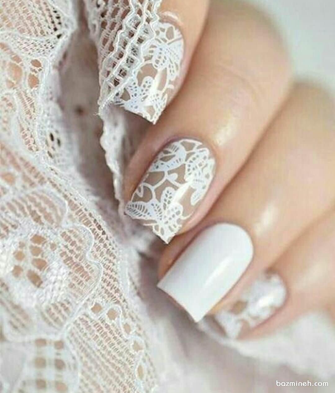 طراحی کلاسیک ناخن های عروس با تور
