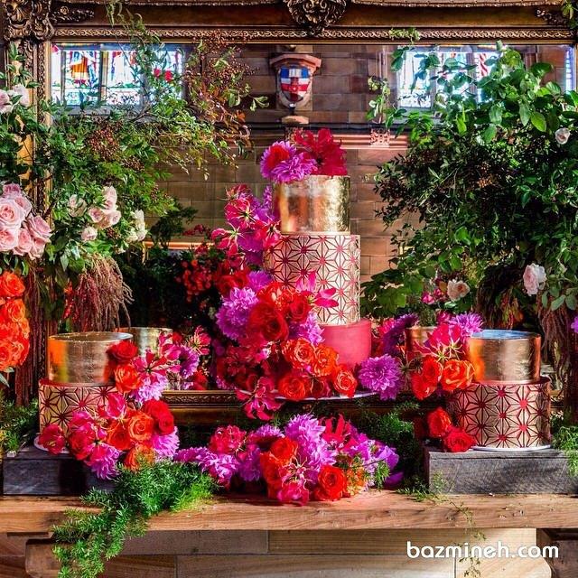 دیزاین زیبای میز کیک جشن تولد یا نامزدی همراه با گل آرایی