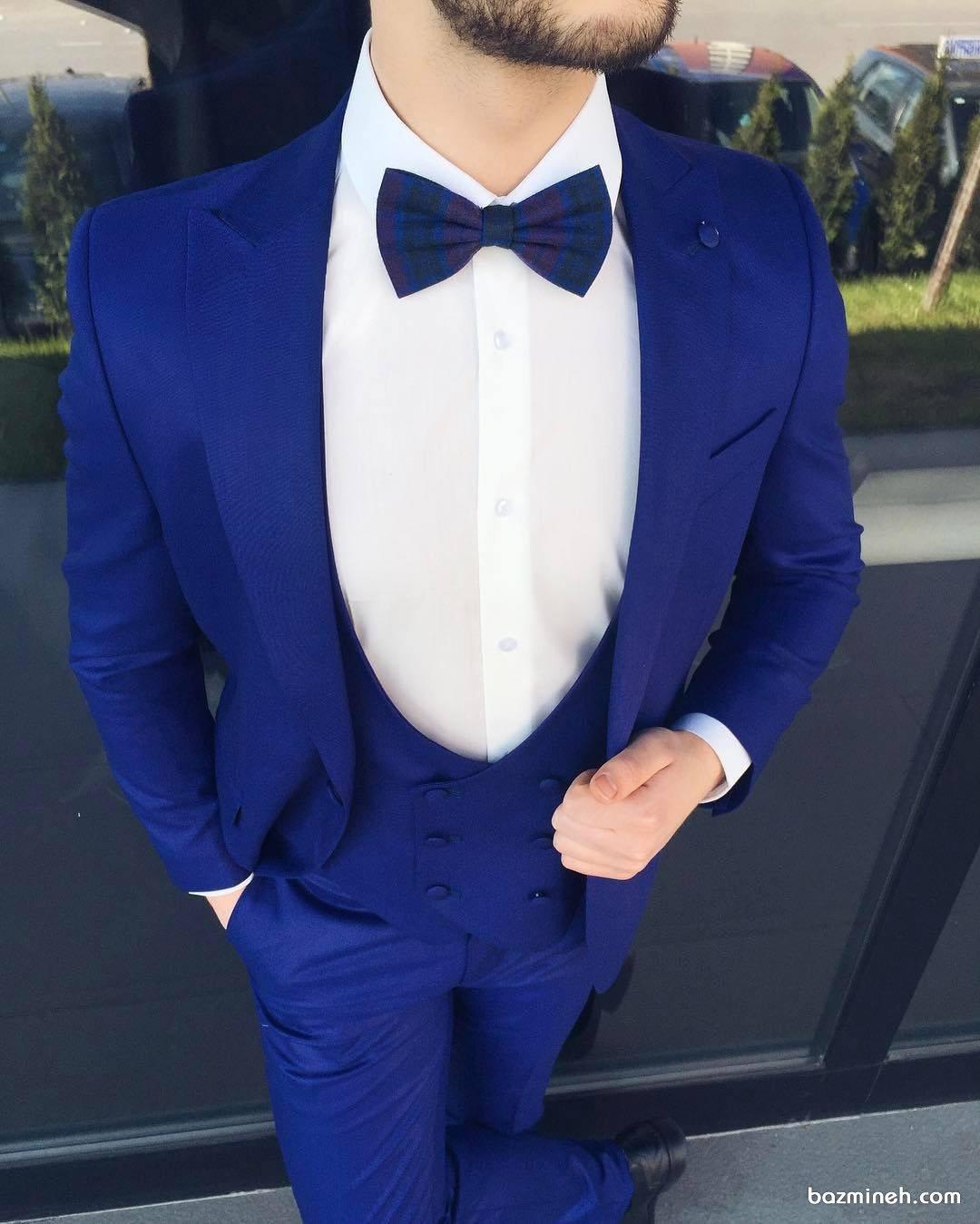 ست کت و شلوار دامادی به رنگ آبی لاجوردی مناسب برای دامادهای خوش تیپ در مراسم خواستگاری یا نامزدی