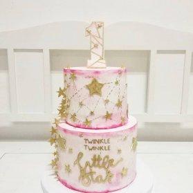 کیک دو طبقه فانتزی جشن تولد کودک با تم ستاره