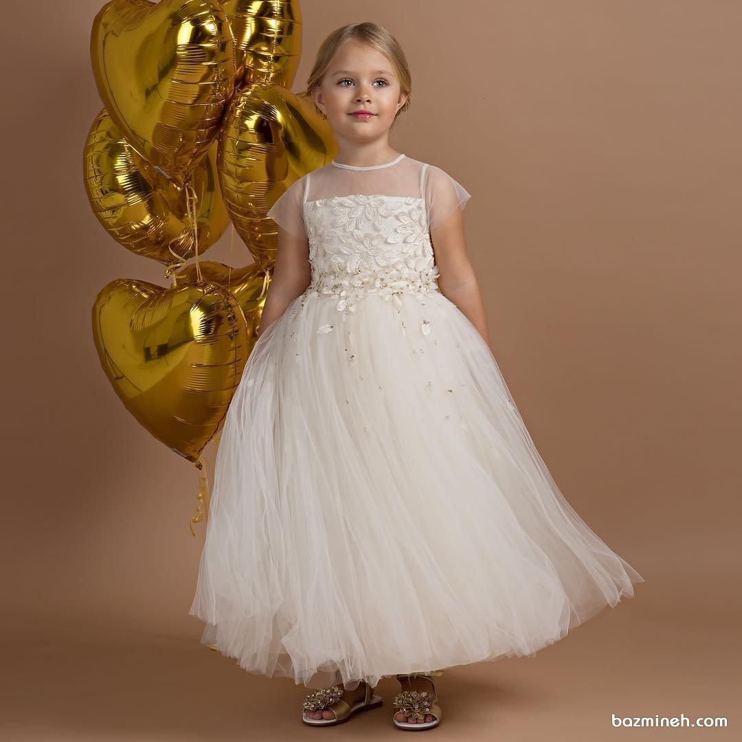 لباس عروس کودکانه با دامن پفی بلند مناسب برای ساقدوش های کودک عروس (Flower Girl)