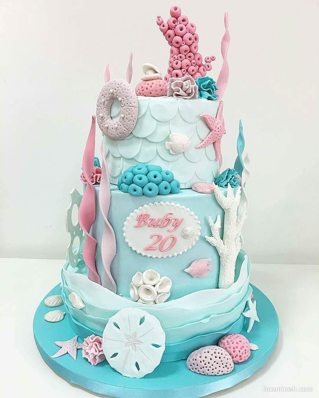 کیک فوندانت جشن تولد دخترانه با تم موجودات دریایی