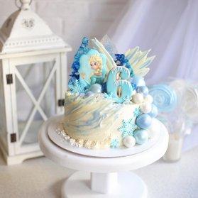 مینی کیک جشن تولد دخترانه با تم پرنسس فروزن (Princess Frozen)
