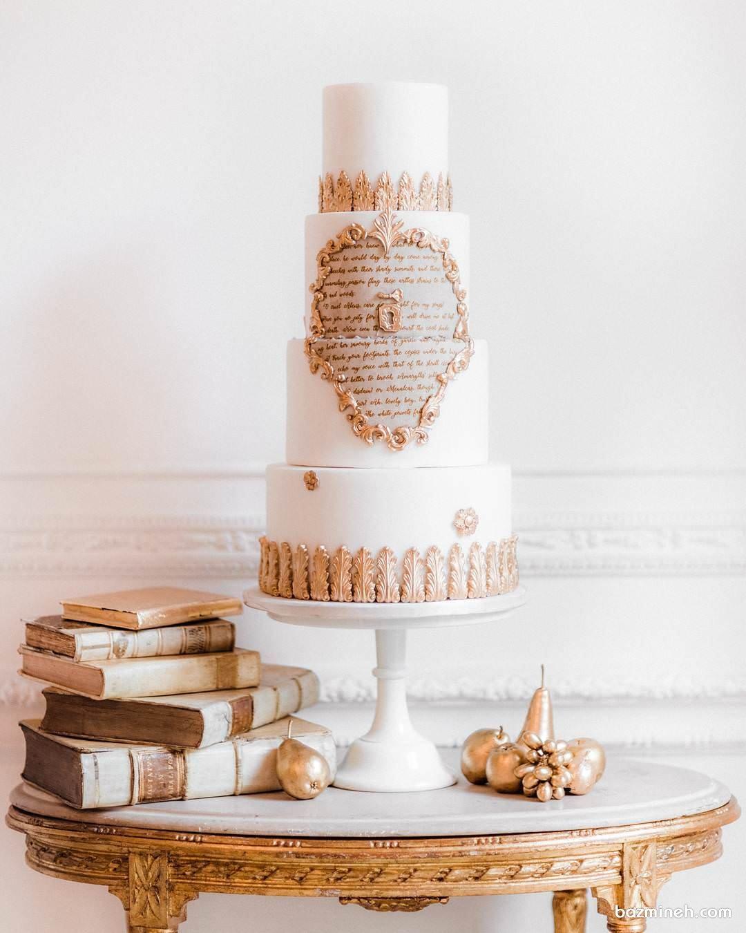 کیک خاص و زیبای جشن تولد با تم سفید طلایی