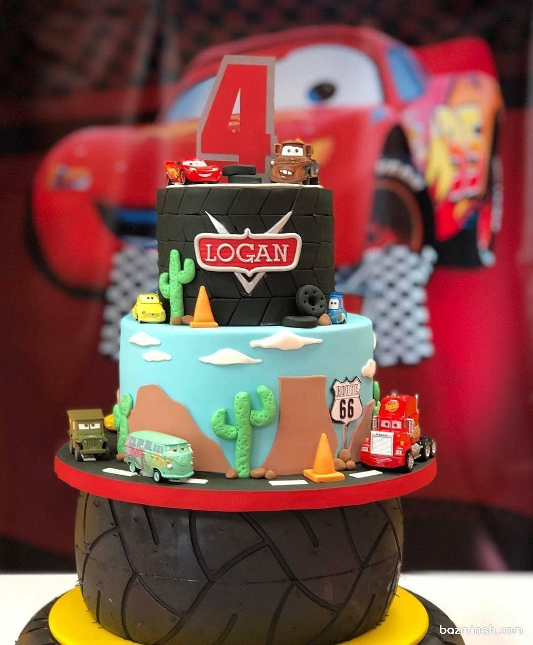 کیک فوندانت جشن تولد پسرانه با تم کارتون ماشین ها (Cars)