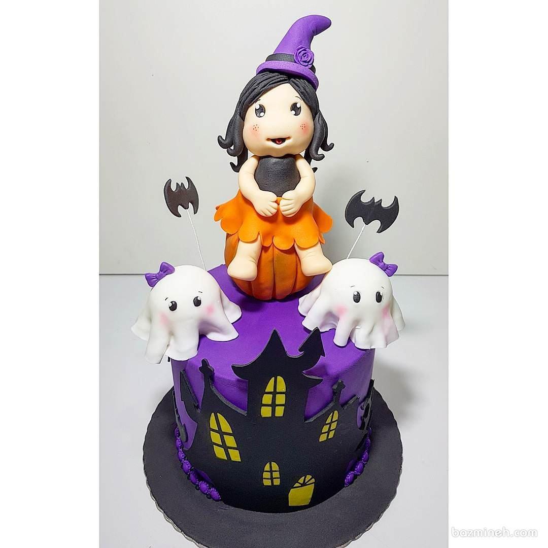 کیک فوندانت جشن تولد دخترانه با تم هالوین
