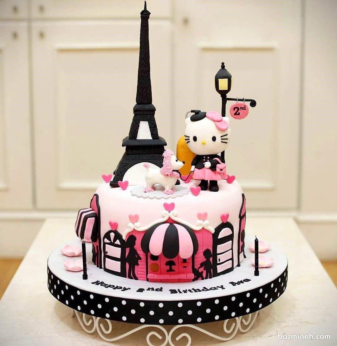 کیک فوندانت فانتزی جشن تولد دخترونه با تم هلو کیتی (Hello Kitty)