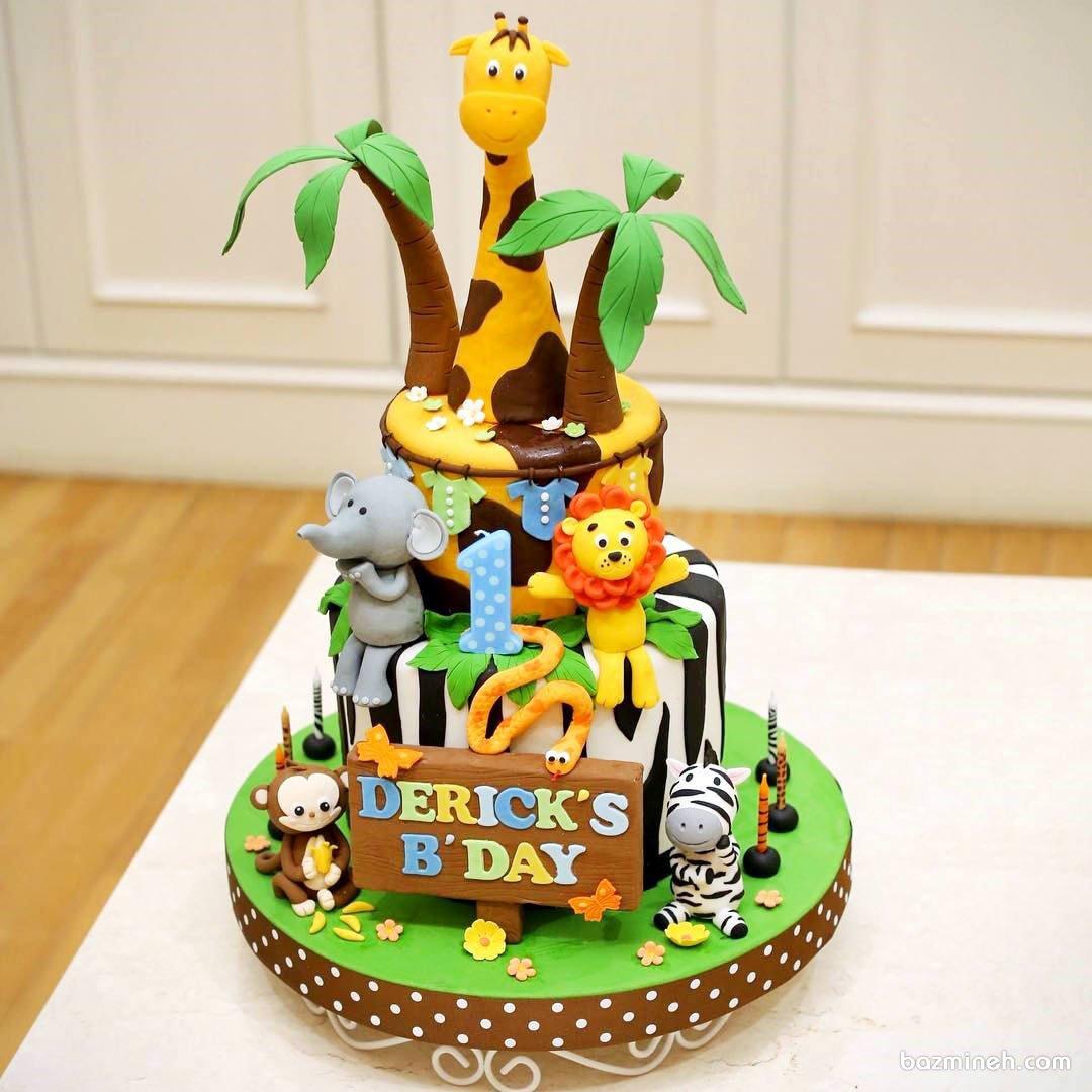 کیک فوندانت جشن تولد کودک با تم حیوانات جنگل