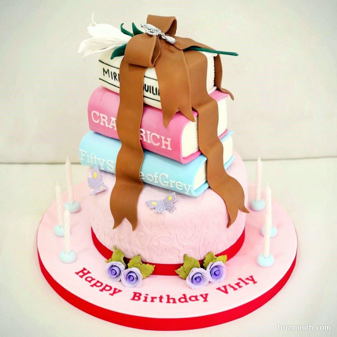 کیک چند طبقه  فوندانت مناسب برای جشن فارغ التحصیلی یا تولد دخترونه
