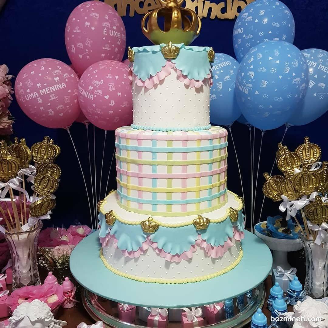 کیک چند طبقه زیبای جشن تعیین جنسیت یا بیبی شاور