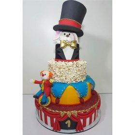 کیک چند طبقه فوندانت جشن تولد کودک با تم سیرک