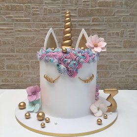 کیک زیبای جشن تولد دخترانه با تم اسب تک شاخ (Unicorn)