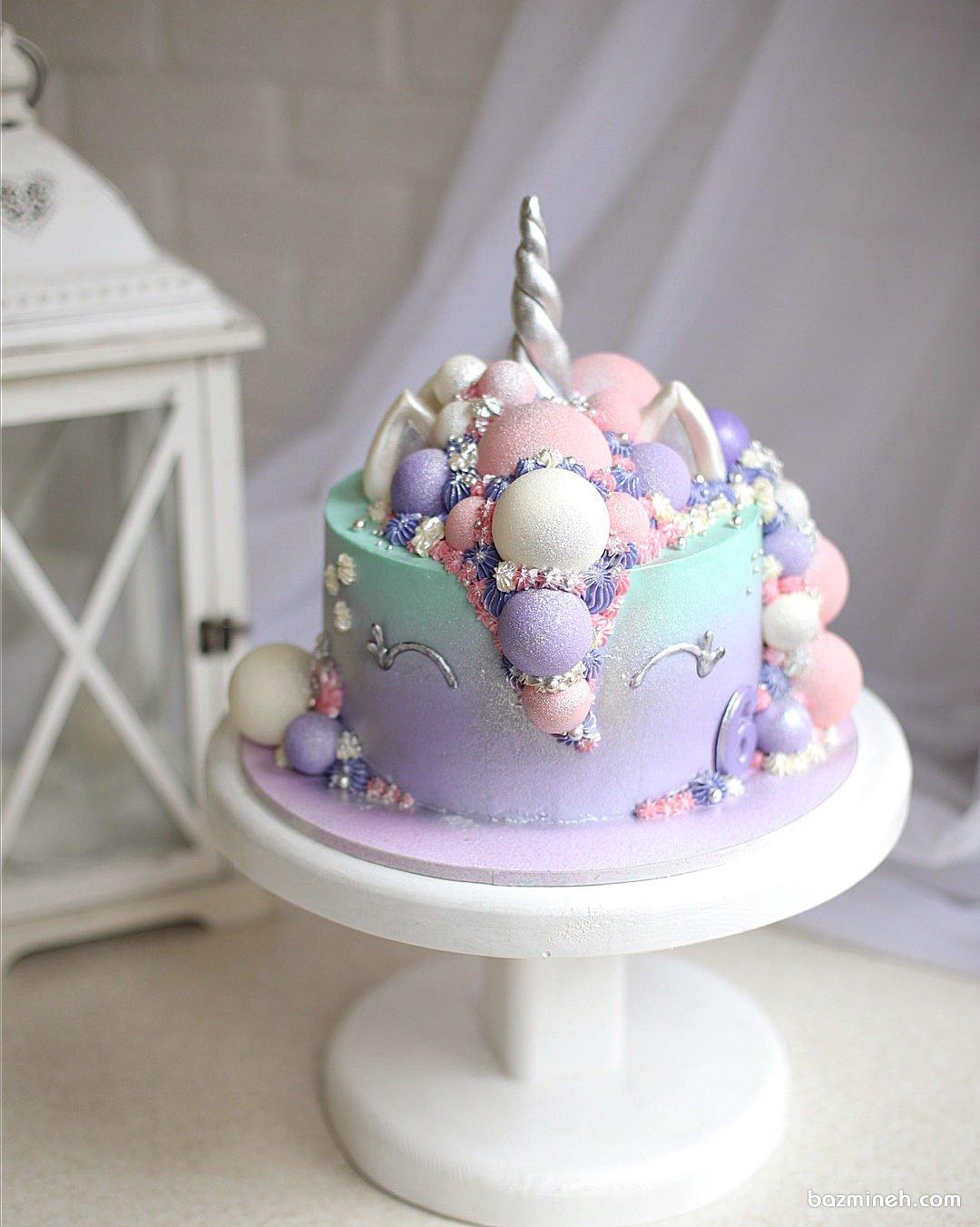 مینی کیک رویایی جشن تولد دخترانه با تم یونیکورن (Unicorn)