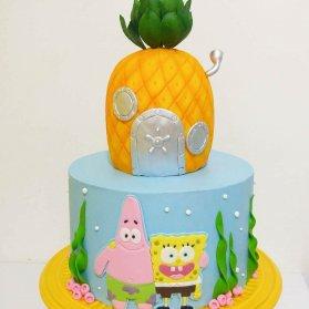 کیک فوندانت جشن تولد کودک با تم باب اسفنجی و پاتریک