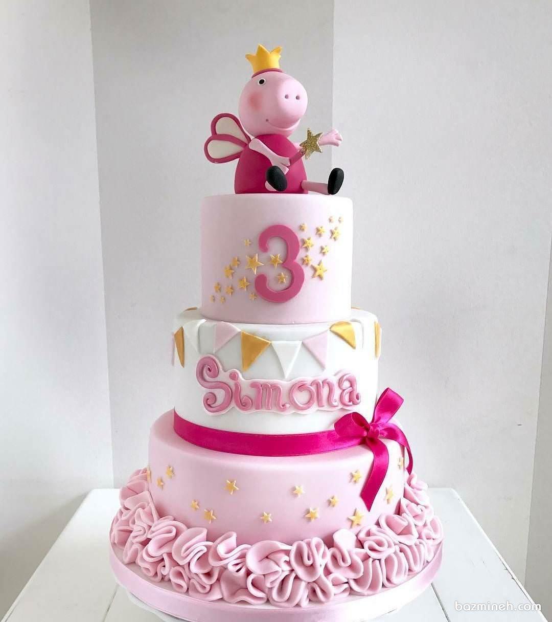 کیک چند طبقه جشن تولد دخترانه با تم پپا پیگ (Peppa Pig)
