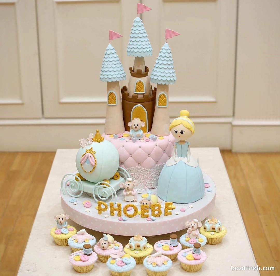 مینی کیک فوندانت جشن تولد دخترانه با تم سیندرلا