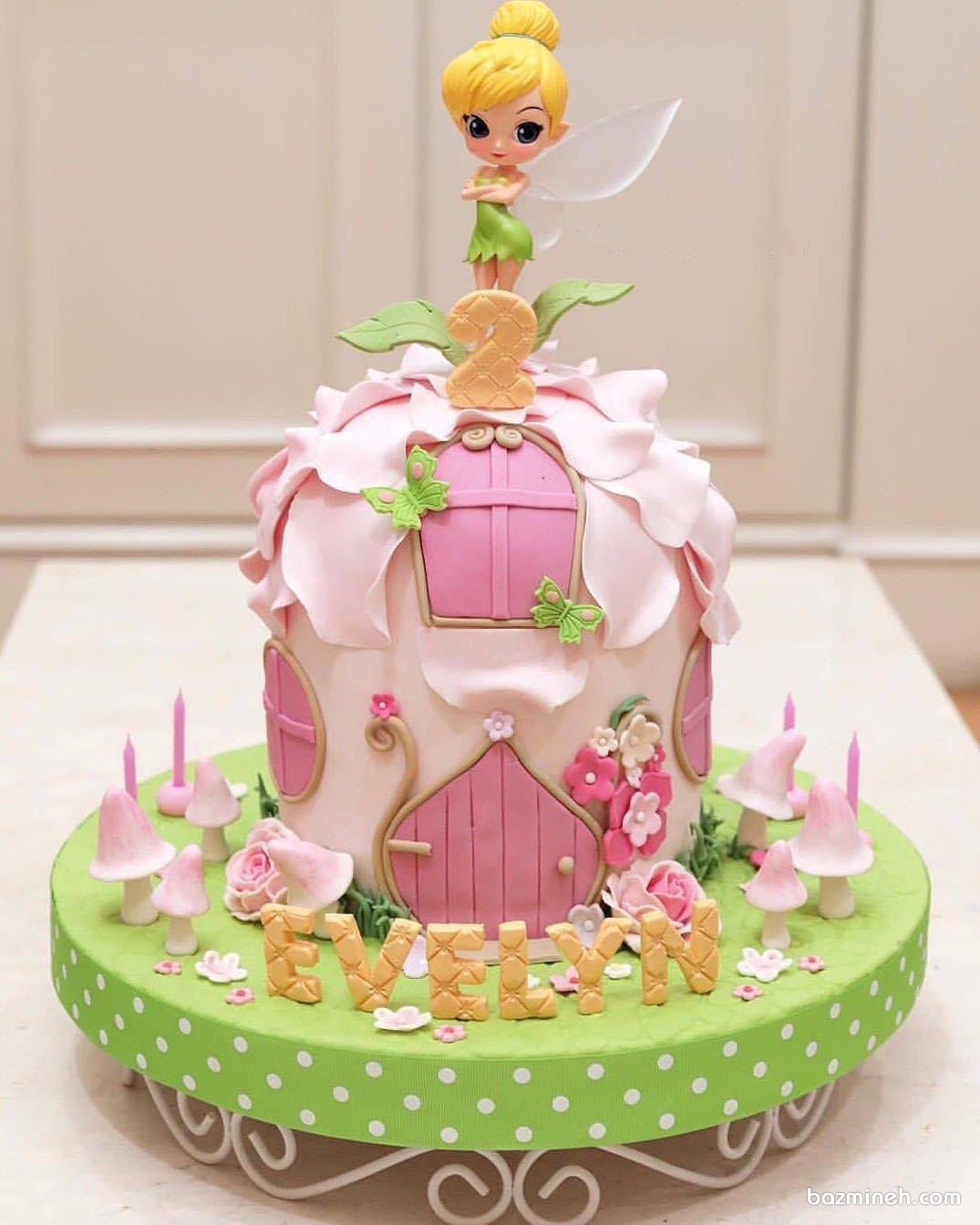 کیک فوندانت فانتزی جشن تولد دخترانه با تم تینکربل (Tinker Bell)