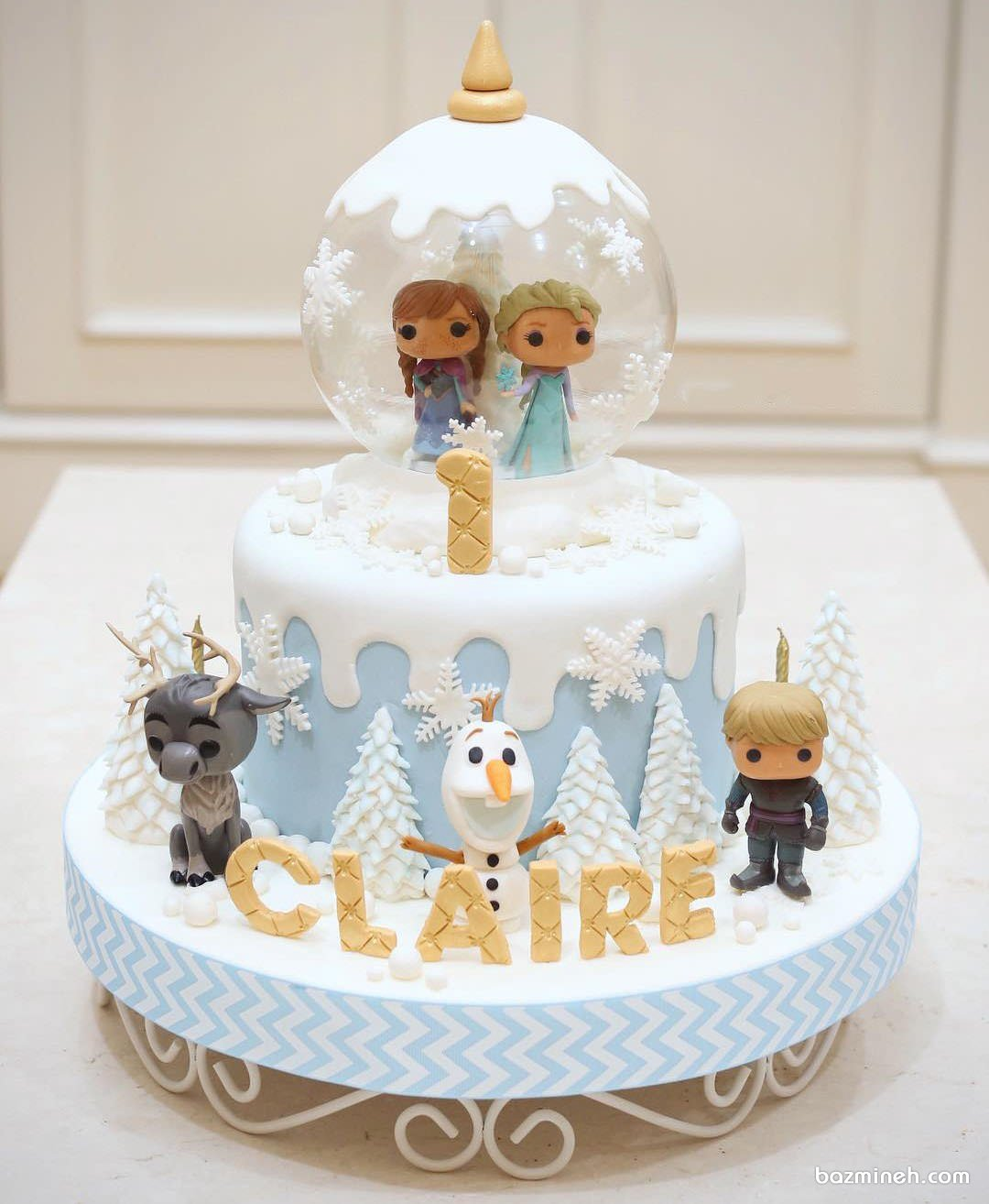 کیک فوندانت جشن تولد یکسالگی دخترانه با تم پرنسس فروزن (Frozen)