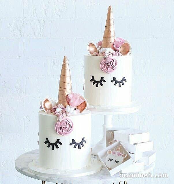 کیک و کوکی فانتزی جشن تولد دخترانه با تم یونیکورن (اسب تک شاخ)