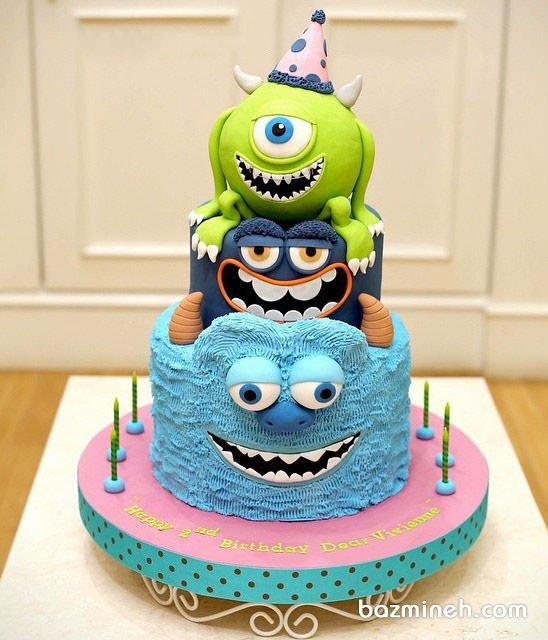 کیک فانتزی فوندانت جشن تولد کودک با تم کارخانه هیولاها