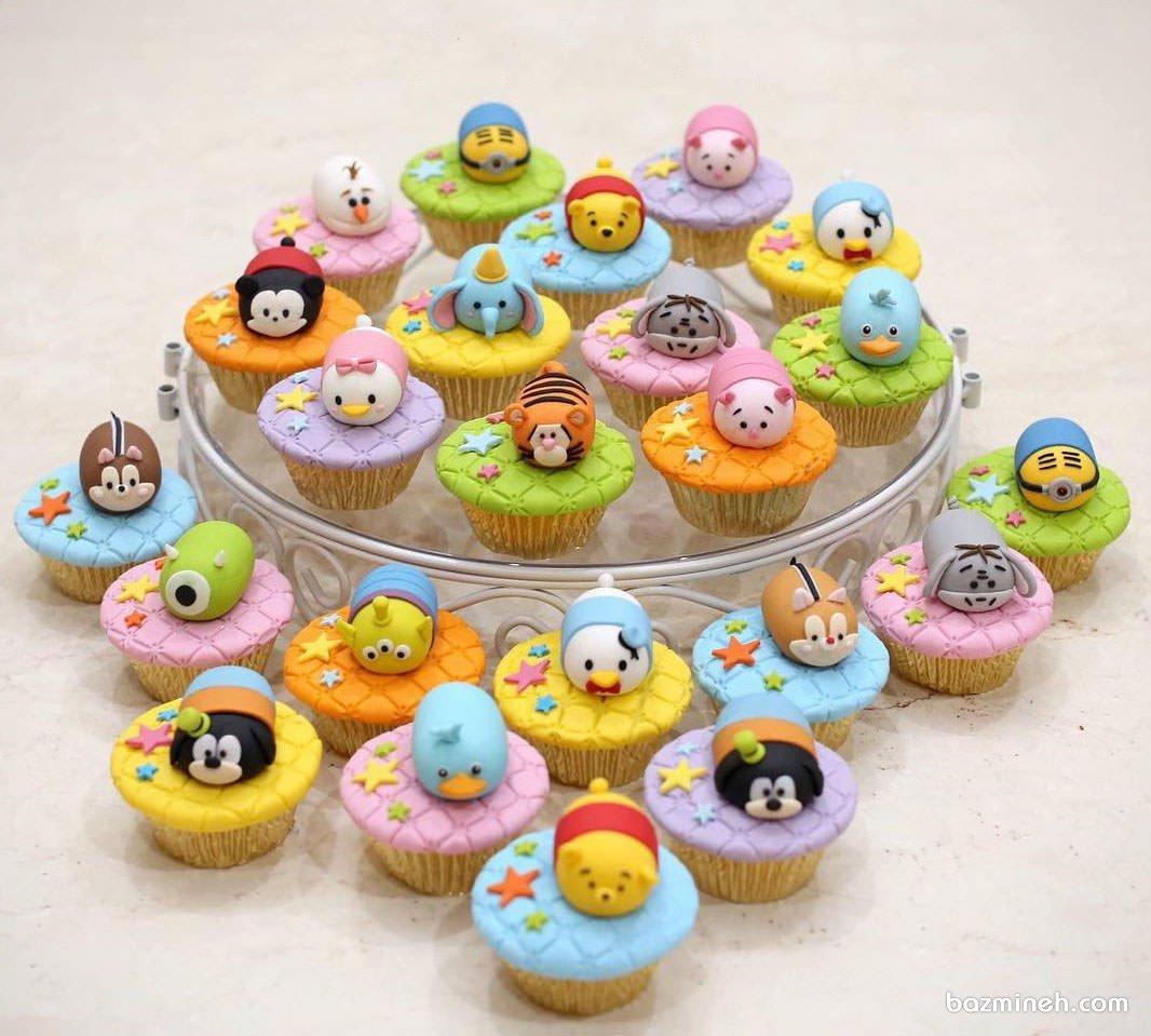 کاپ کیک های رنگی و کارتونی جشن تولد کودک