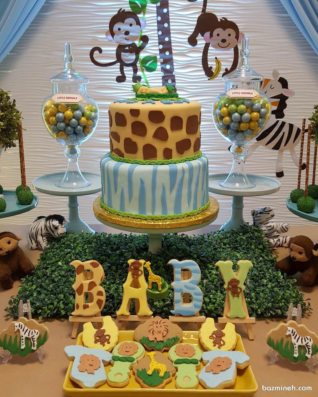 کیک و کوکی های زیبای جشن بیبی شاور با تم حیوانات جنگل
