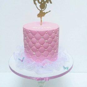 کیک فانتزی جشن تولد دخترانه با تم صورتی و بالرین