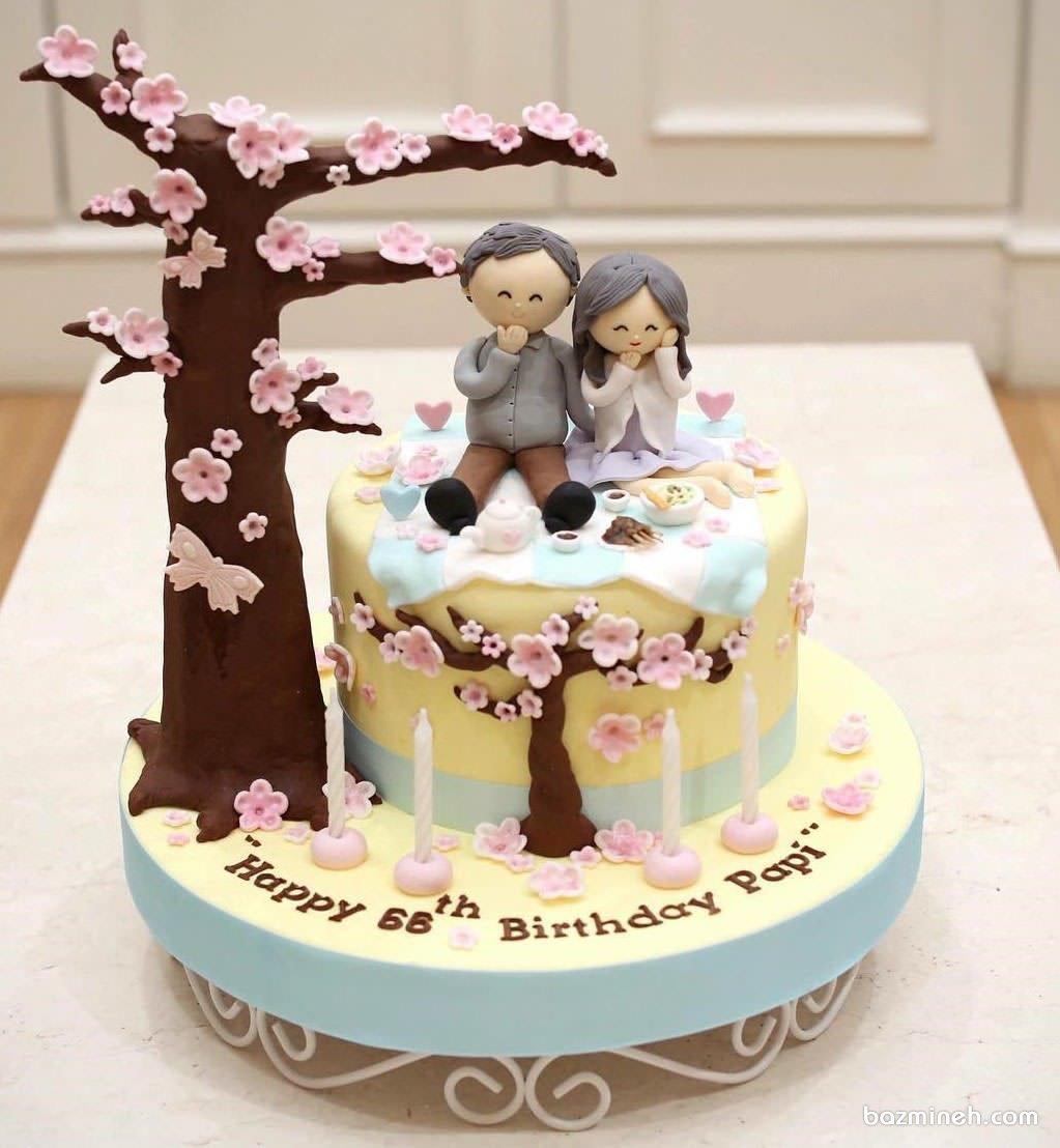 کیک فوندانت جشن سالگرد ازدواج مامان باباهای مهربون
