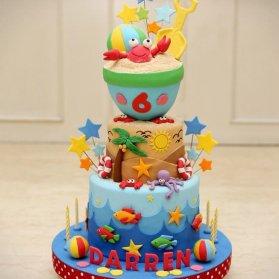 کیک بامزه فوندانت جشن تولد کودک با تم موجودات دریایی