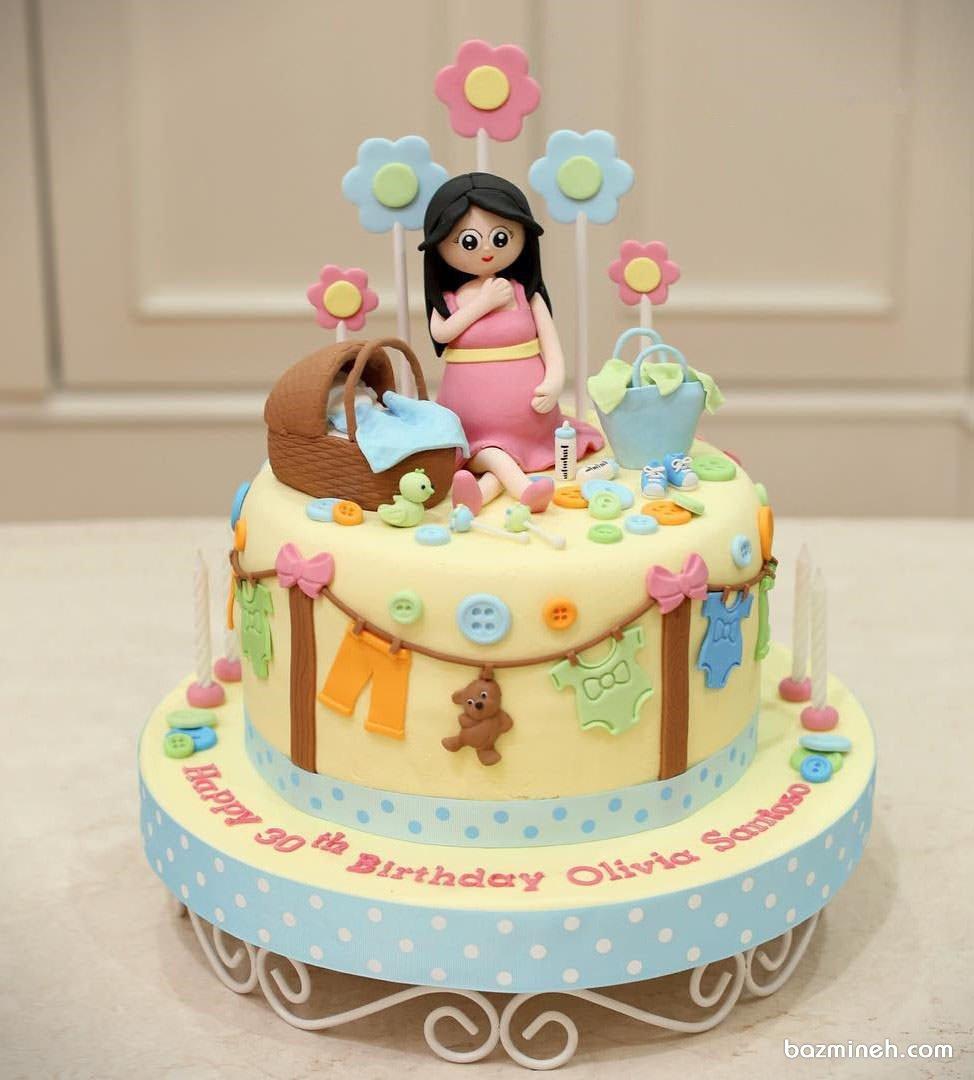 مینی کیک بامزه جشن بیبی شاور یا تعیین جنسیت با تم آبی صورتی