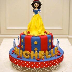 مینی کیک عروسکی جشن تولد دخترونه با تم سفید برفی