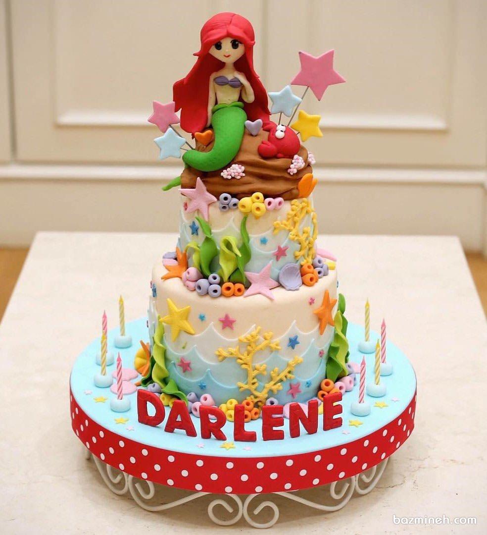 کیک فوندانت عروسکی جشن تولد دخترونه با تم پری دریایی