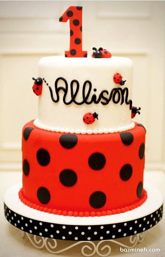 کیک فوندانت جشن تولد کودک با تم کفشدوزکی