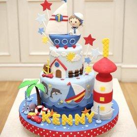 کیک فوندانت فانتزی جشن تولد پسرونه با تم ملوان