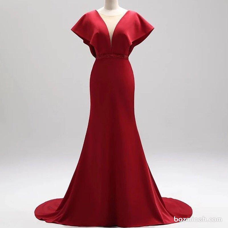 پیراهن مجلسی بلند زنانه قرمز رنگ با دامن دنباله دار پیشنهادی زیبا برای ساقدوش های عروس