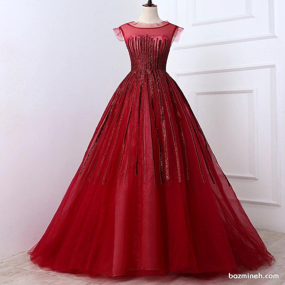 مدل لباس نامزدی با پارچه حریر شیشه ای قرمز رنگ