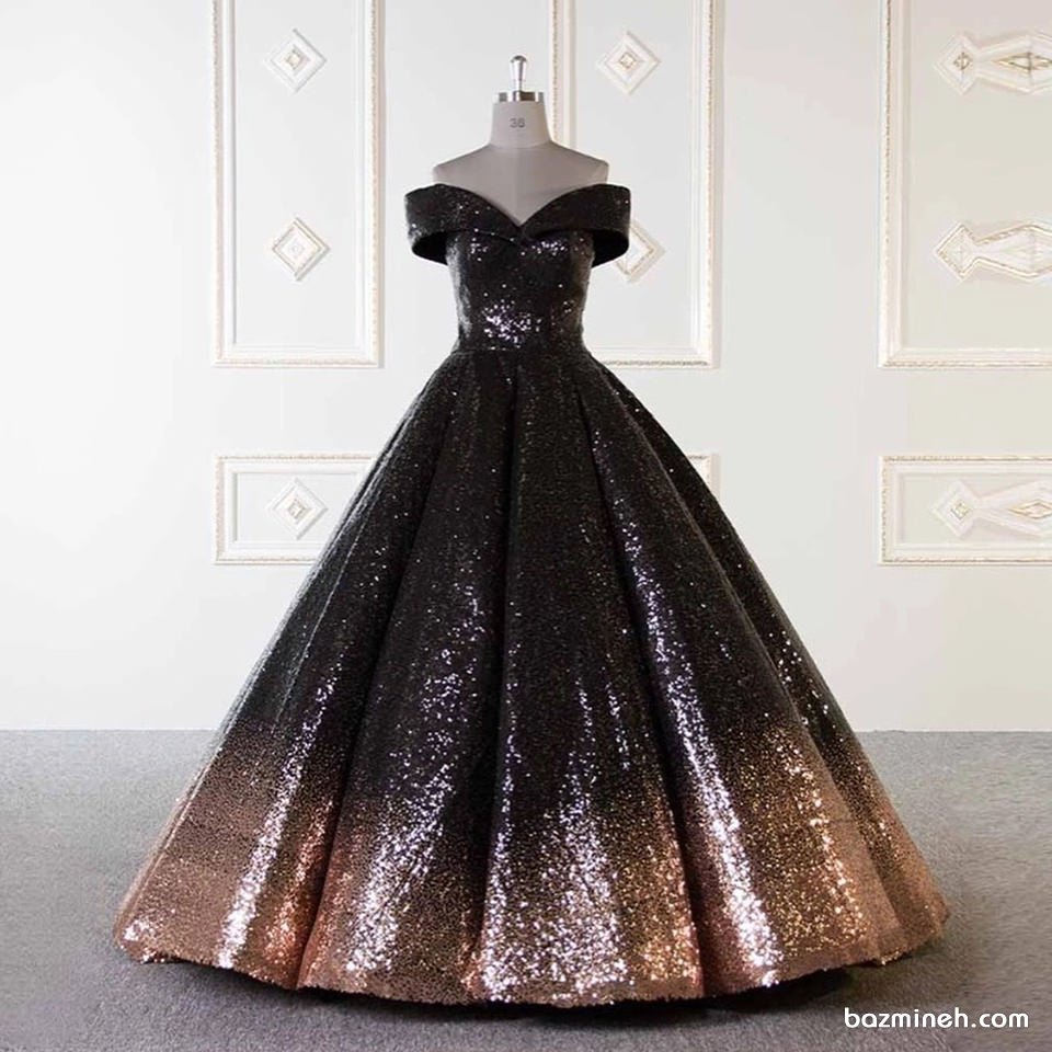 لباس مشکی مدل ماهی بزمینه | لباس نامزدی و ساقدوش