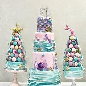 کیک چند طبقه زیبای جشن تولد دخترونه با تم پری دریایی