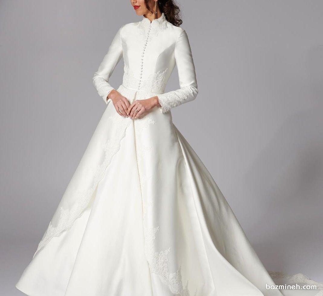 مدل لباس عروس شیک و کلاسیک پوشیده آستین دار مناسب برای عروس خانم های محجبه