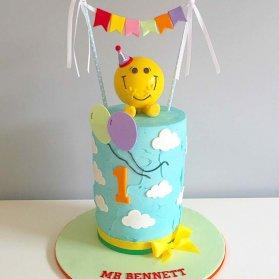 مینی کیک رنگی جشن تولد یکسالگی پسرانه با تم ایموجی