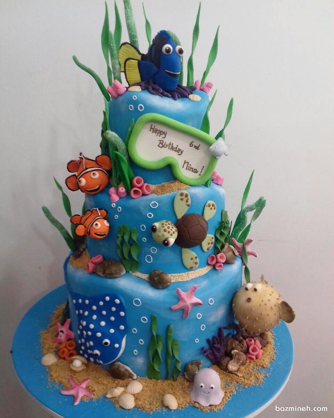 کیک چند طبقه فوندانت جشن تولد کودک با تم نمو (Nemo)