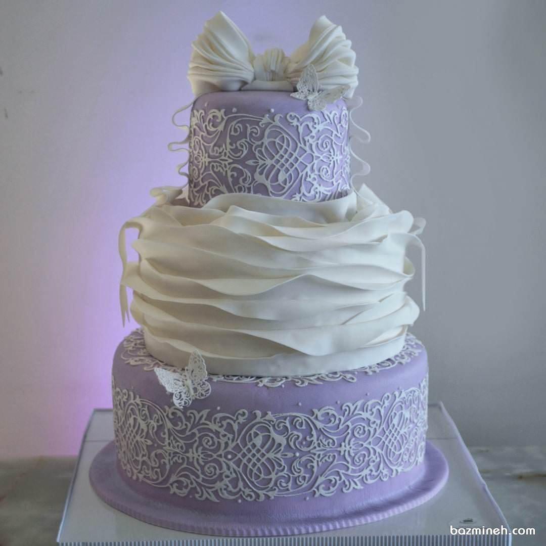 کیک رویایی جشن تولد دخترونه با تم سفید یاسی