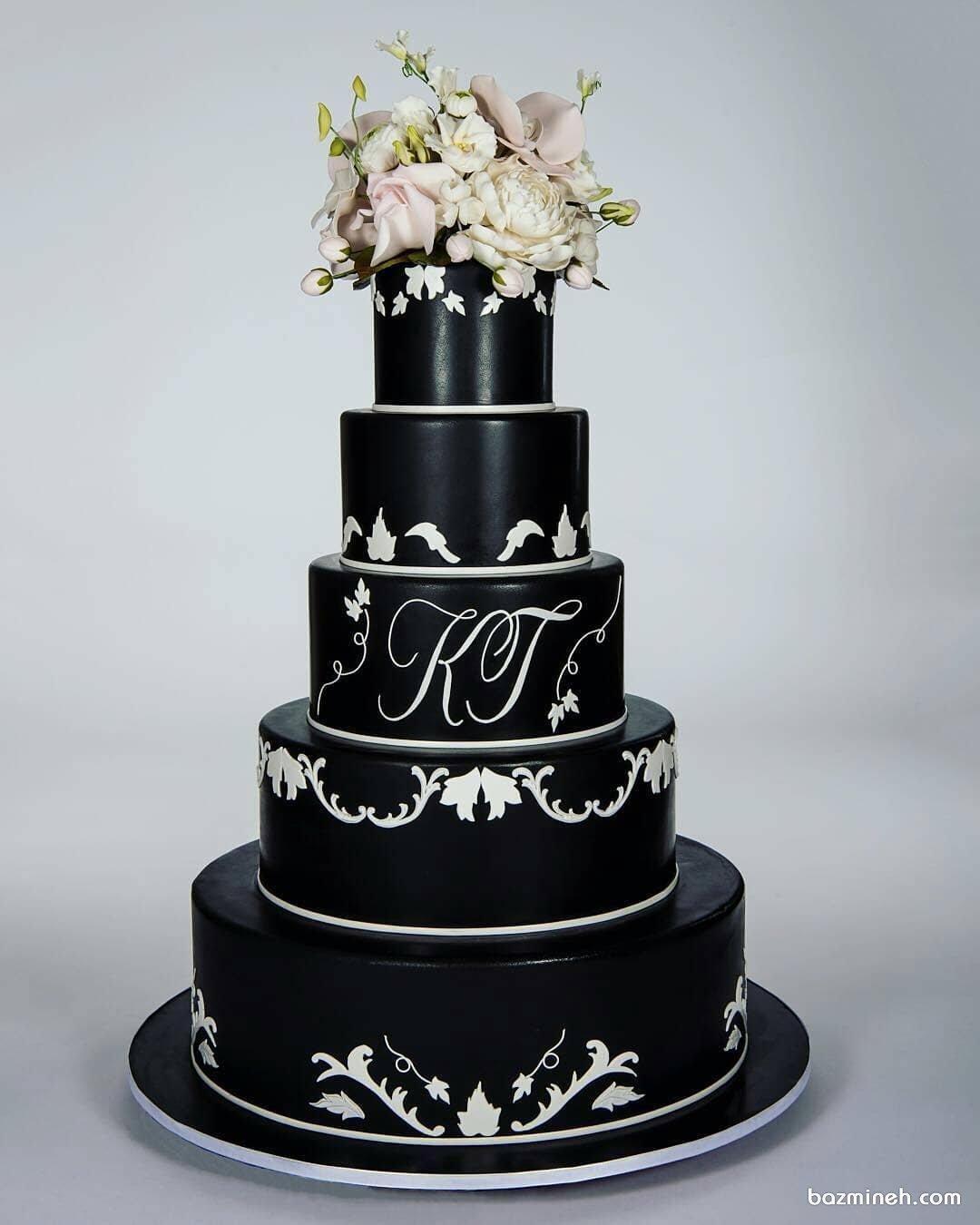 کیک چند طبقه جشن نامزدی یا عروسی با تم مشکی