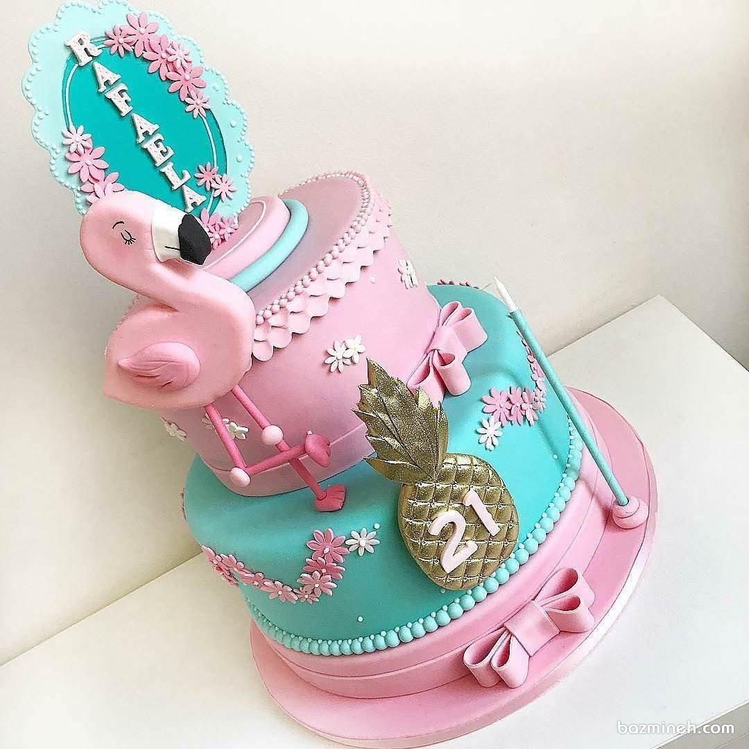 کیک فوندانت جشن تولد دخترونه با تم پرنده صورتی فلامینگو