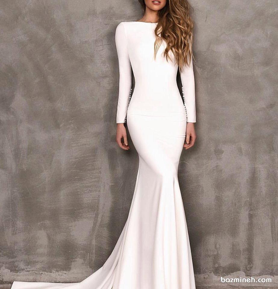 لباس مجلسی شیک ماکسی زنانه مدلی ساده و پوشیده برای ساقدوش های عروس یا عروس خانم ها در روز فرمالیته