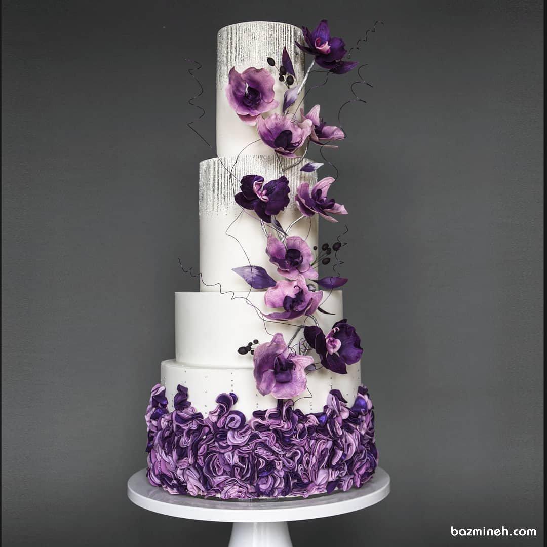 کیک چند طبقه زیبای جشن تولد بزرگسال با تم سفید بنفش